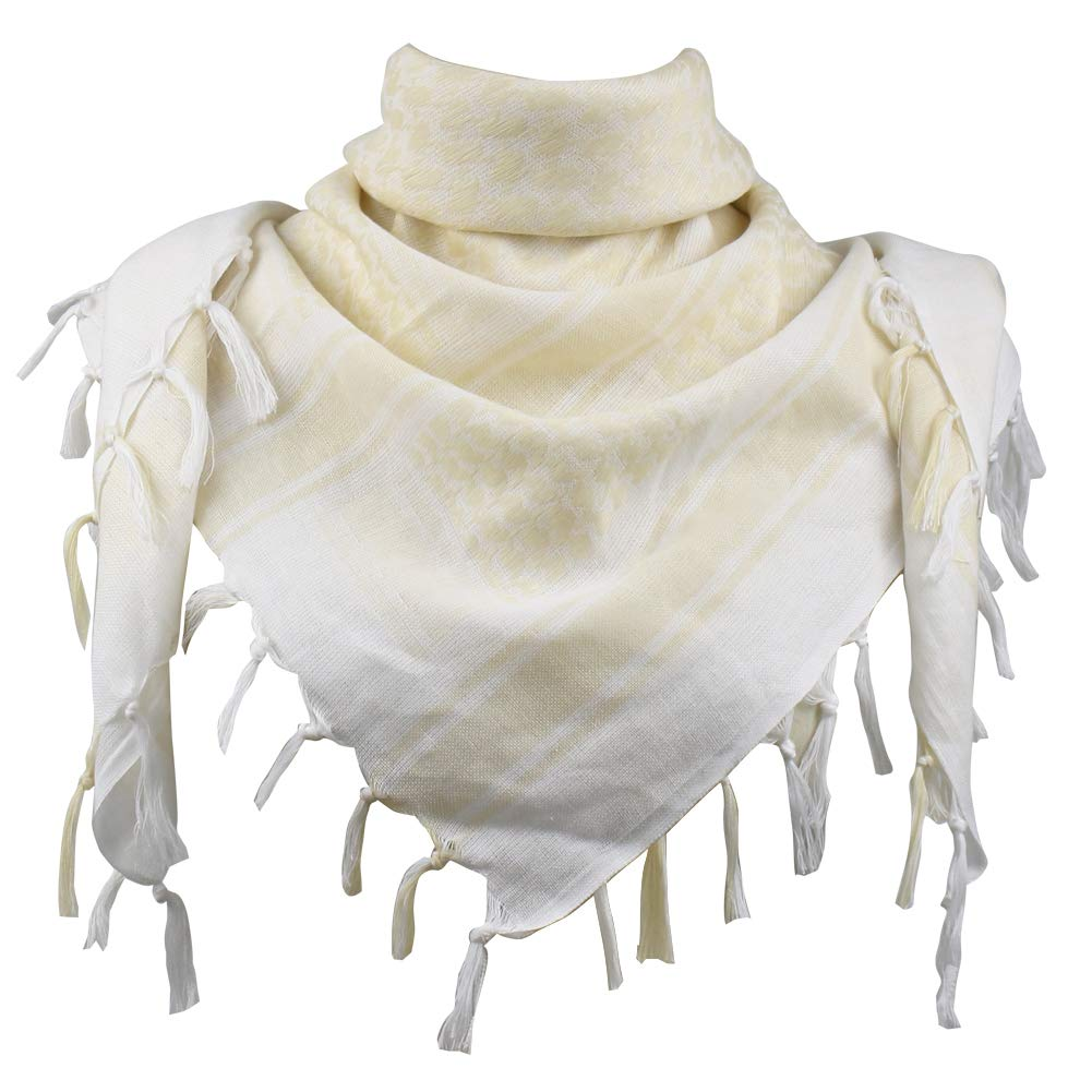 Explore Land 100% Cotton Shemagh Tactical Desert Scarf Wrap (White and Tan)