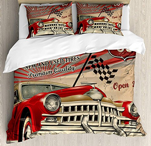 uvet Cover Set,Cars Tires Shop Service Route 66 Emblem Advertisement Retro Poster,Bedding Set Luxury Bedspread(Flat Sheet Quilt and 2 Pillow Cases for Kids/Adults/Teens/Childrens ()