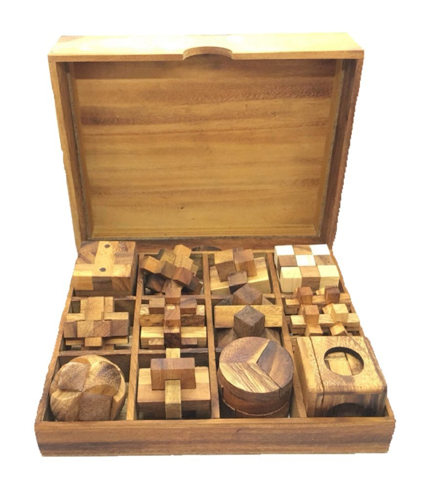 RATREE SHOP Handmade Puzzle Sets - Twelve Brain Teasers with The Puzzle Showcase, 12 Wooden Game Gift Set Handmade Wooden Puzzles for Adults by RATREE SHOP