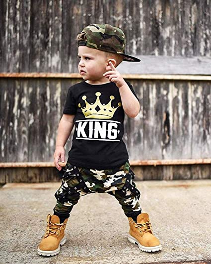 King Words Printed Pullover T-Shirt 2 pcs Toddler Boy Kids Clothes Sets Cool Design Camo Long Pants Outfits