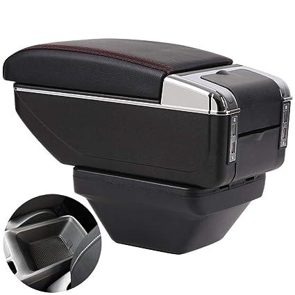 Double space panels retractable armrest box For 208 2012-2020 Centre Console Storage Box Armrest Double retractable NO USB, Black white line