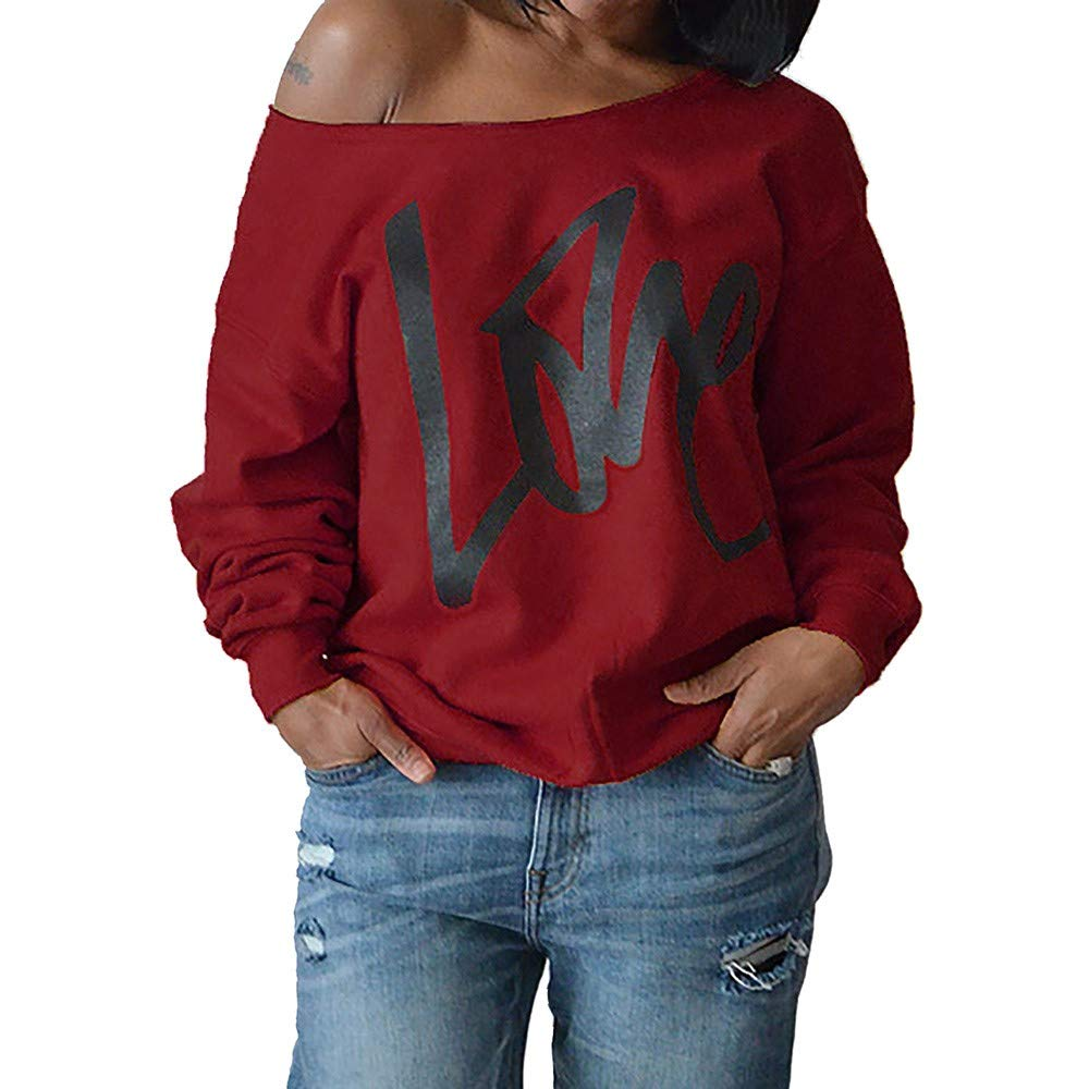 ebcb9a08a Ulanda Women's Sexy Off Shoulder Oversized Pullovers Sweatshirts Love Print  Slouchy Tops Plus Size at Amazon Women's Clothing store: