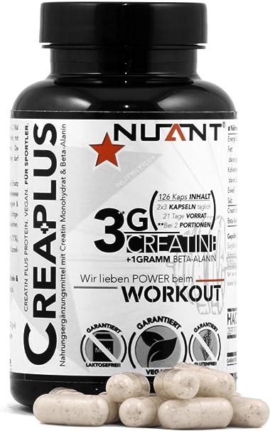 NUANT® – CREA PLUS | Seltener Komplex aus Creatin Monohydrat & Beta-Alanin. Für Bodybuilder & Athleten | 126 Kapseln | 100% -