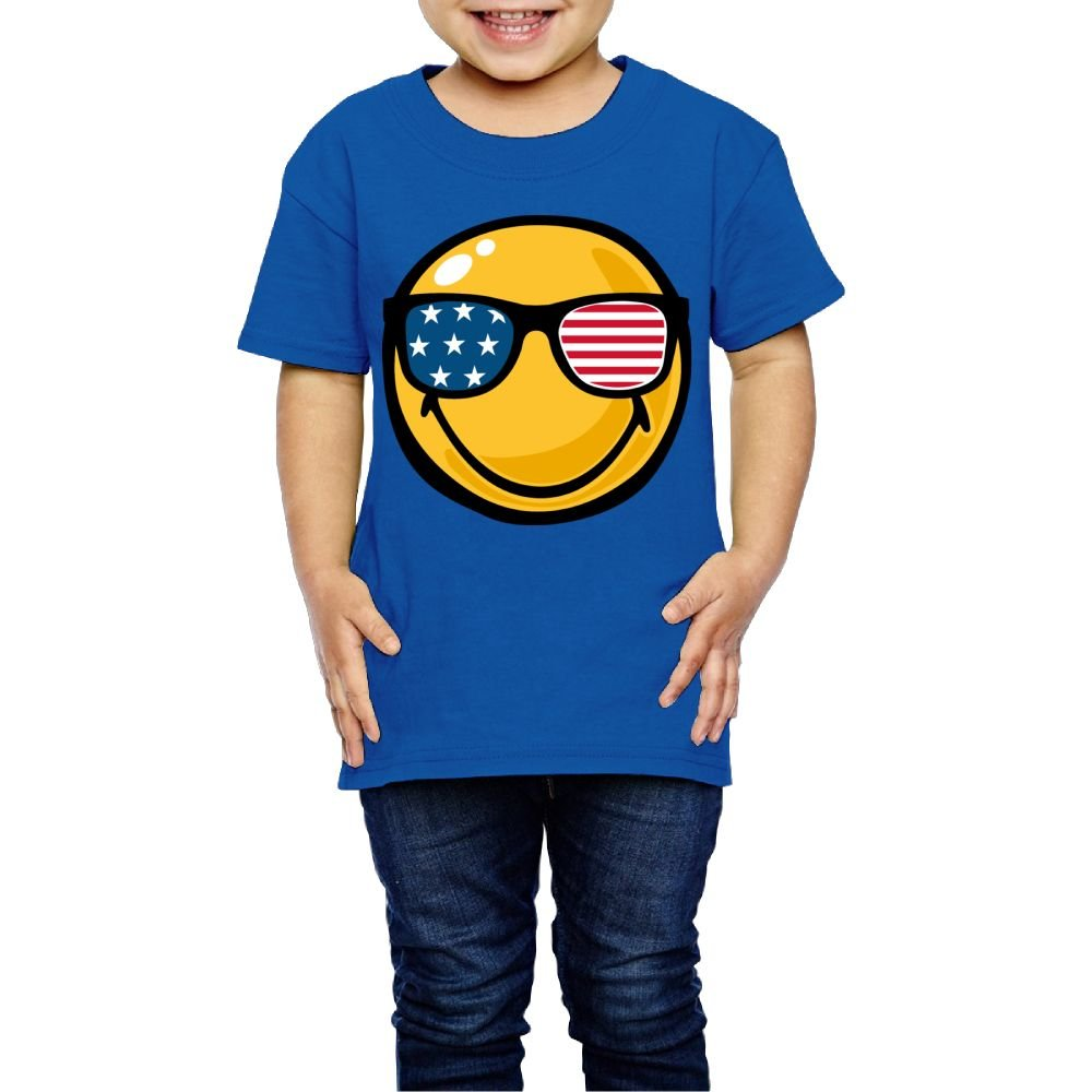 Moniery Short-Sleeves T Shirt Smiley Face American Flag Sunglasses Pink Girl's Boy Kids