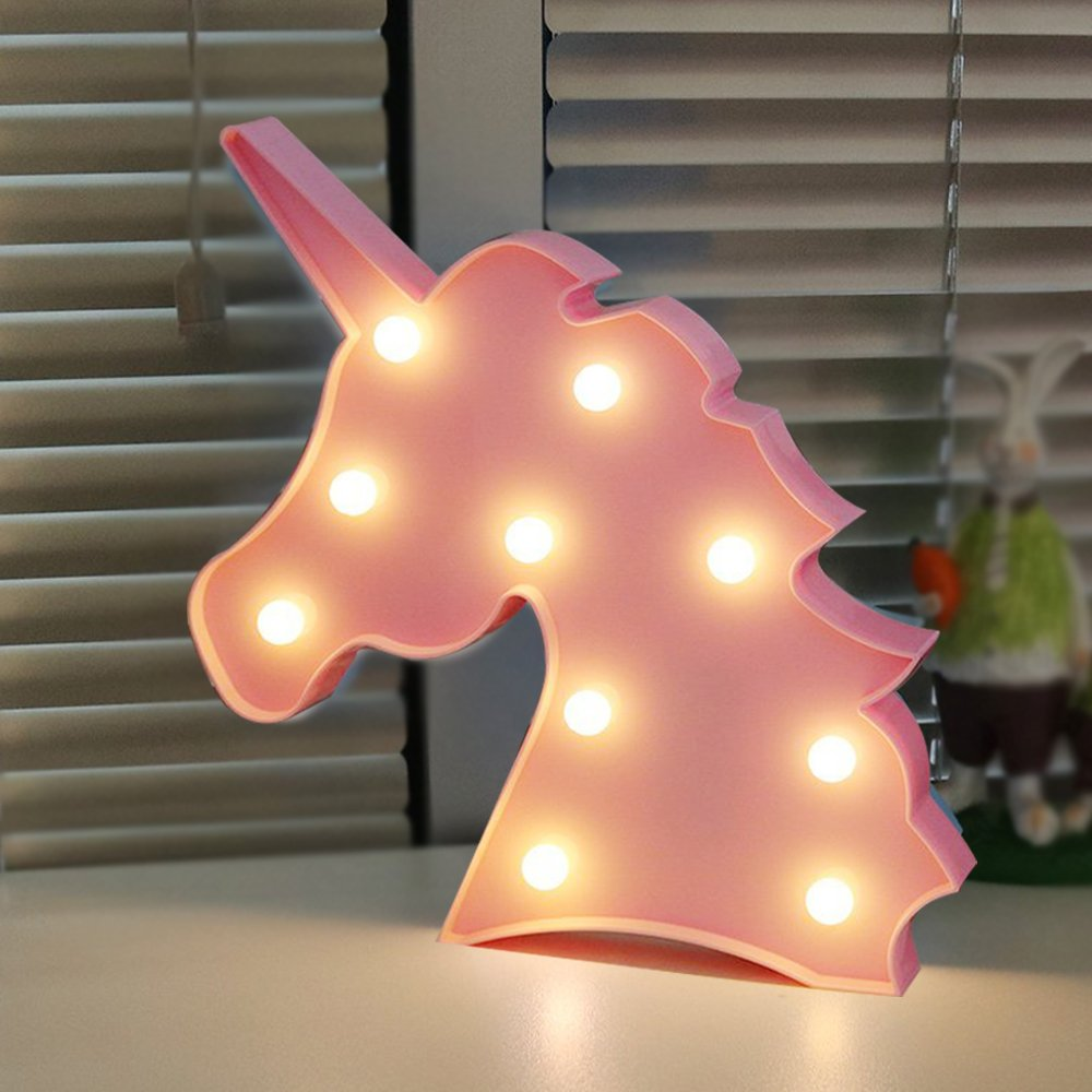 AIZESI Unicorn Light,Led Unicorn Lamps,Marquee Battery Operated Table Led Lights Wall Decoration for Girls Bedroom,Living Room, Christmas,Party as Kids Gift