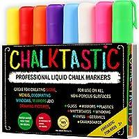 Marcadores de tiza de Fantastic ChalkTastic Lo mejor para el arte de los niños, etiquetas de pizarra, tableros de menú, tableros de bistró, 8 marcadores de ventana de vidrio, bolígrafos líquidos no tóxicos, cincel o punta fina, colores neón más blanco