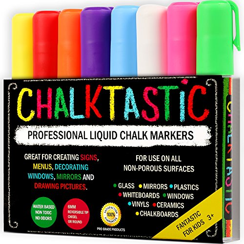(Chalk Markers by Fantastic ChalkTastic Best for Kids Art, Chalkboard Labels, Menu Board Bistro Boards, 8 Glass Window Markers, non-toxic Erasable Liquid Pens Chisel or Fine Tip, Neon Colors plus)
