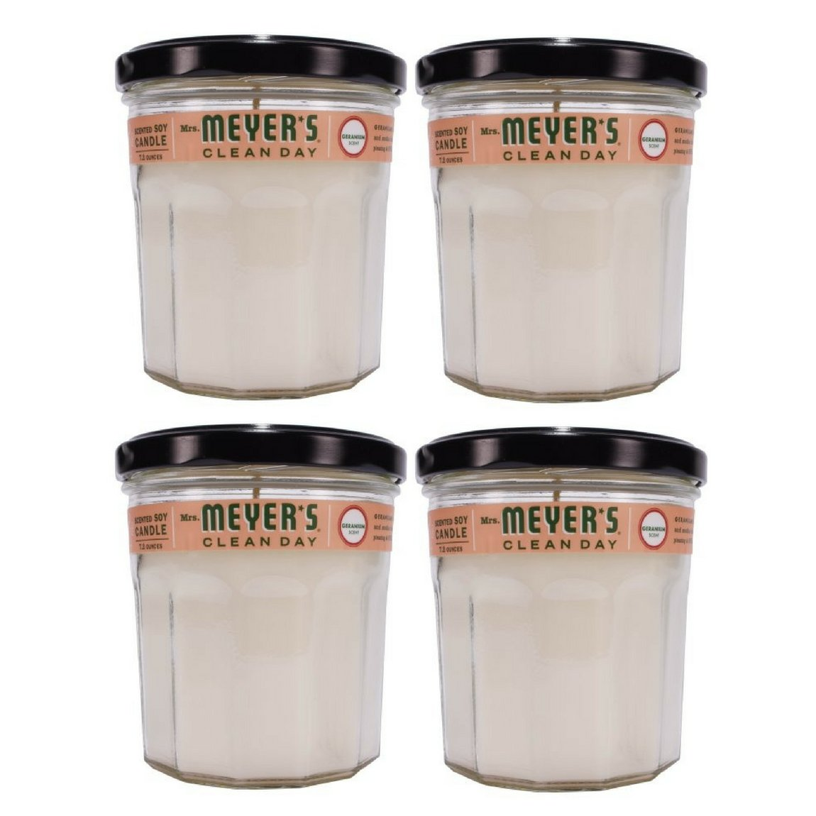 Mrs. Meyer's Clean Day Scented Soy Candle, Large Glass, Geranium, 7.2 oz - 4 Packs