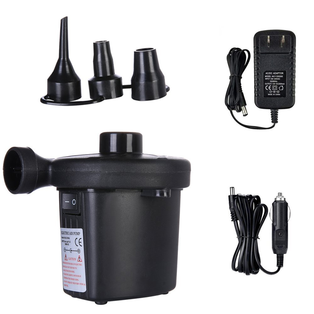 Latitude 22 Electric Air Pump, Portable Quick-Fill Air Pump With 3 Nozzles for Air Mattress Bed Air Boats Swimming Ring Pool Toys Inflatable Furniture River rafting Storage Bag