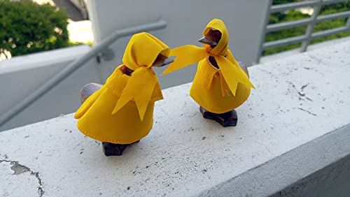 Hand Carved Bamboo Wood Rain Duck, Raincoat Super Baby Duck Figurine Decoration Statue Set of 2, Home Fairy Garden Decor Ornament, Unique Gift Idea