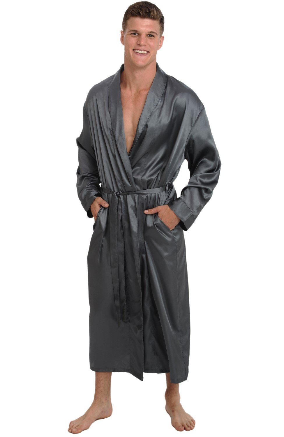 Alexander Del Rossa Mens Satin Robe, Long Lightweight Loungewear, 3XL Steel (A0720STL3X) by Alexander Del Rossa