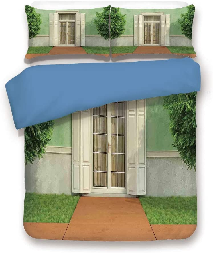 Blue 3pc Bedding Set,Classical Decor Image of Garden of an Old House with Closed Window and Shutters Print Full Duvet Cover Set,Printed Comforter Cover With 2 Pillowcases for Teens Boys Girls & Adults