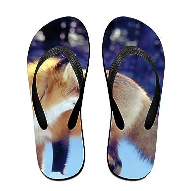 a94a87e3e54fd Amazon.com  Couple Flip Flops Fox Snow Print Chic Sandals Slipper ...