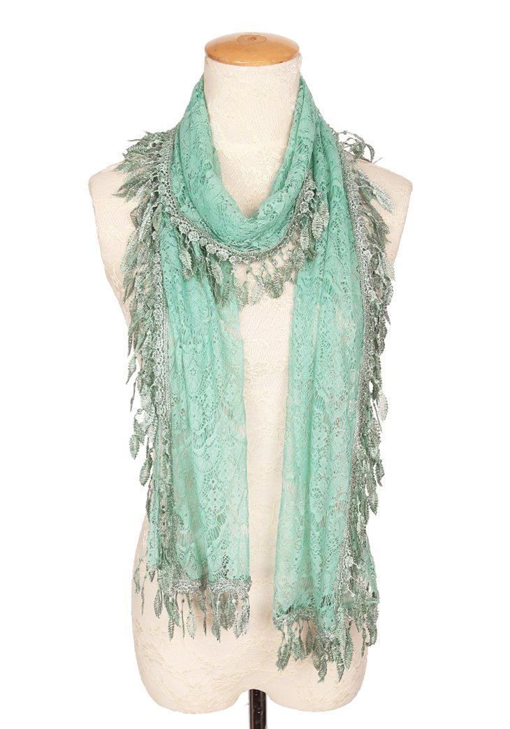 MissShorthair Floral Print Lace Scarfs for Women with Fringes (Green Luck Leaf)