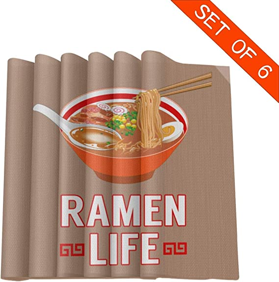 Aeykis Ramen Life - Manteles Individuales para Mesa de Comedor, Resistentes al Calor, Juego de 6 Unidades, 30,5 x 30,5 cm: Amazon.es: Hogar