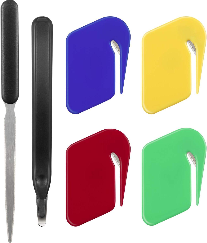 Letter Opener Envelope Slitter ,4 Colors Letter Openers with Razor Blade for Envelope,Stainless Steel Envelope Knife, Staple Removal Tool for School Office Home(6pack)