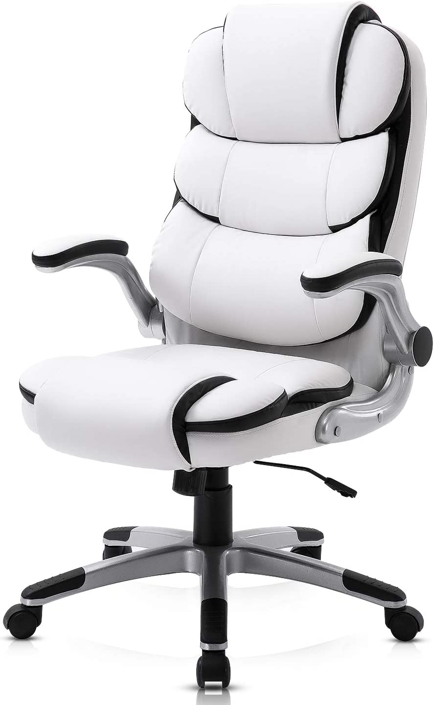YAMASORO Ergonomic Executive Office Chair White,High Back Leather Computer Chair Flip up Arm Rests,Office Desk Chairs with Wheels for Heavy People