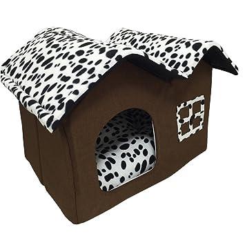 Cama de lujo blanco y negro Spots doble techo Perros Mascotas Casa Caseta de perro gato con hundematte terciopelo poliéster 50 X 40 X 35 Cm: Amazon.es: ...