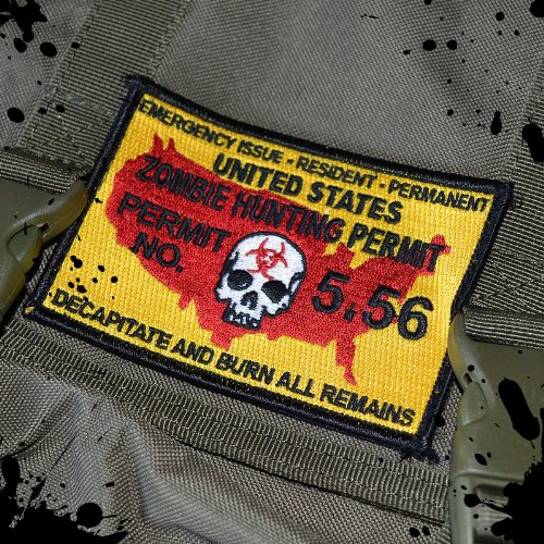 The official USA Made Tactical Zombie Hunting Permit Morale Patch