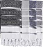 SET of 4 - New Season BRIGHTEST Diamond Weave Turkish Cotton Bath Beach Hammam Towel Peshtemal Blanket (Grey-Fume-Black-Navy)