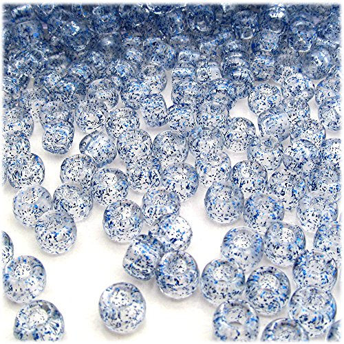 The Crafts Outlet 1000-Piece Round Plastic Transparent Pony Beads, 6 by 9mm, Blue ()