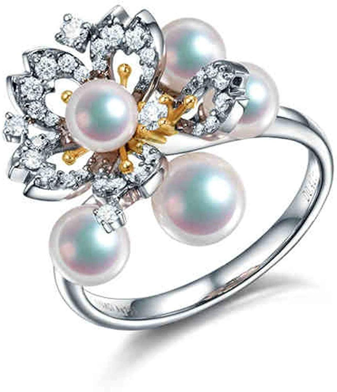 Daesar Anillo de Mujer Plata Anillos de Compromiso Oro Blanco 18K Flor con Perlas Diamante 0.42ct