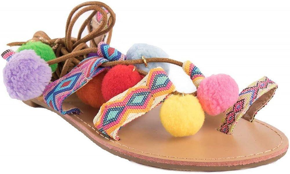 Sandales Femme à Pompons et Lacets Chevilles Motif Ethnique