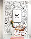 Botanical Garden Hand Drawn Flowers Mural Wall Art Wallpaper - Peel and Stick - by Simple Shapes (4 sheet pack - 2ft x 8ft)