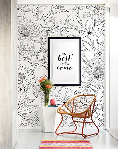 Botanical Garden Hand Drawn Flowers Mural Wall Art Wallpaper - Peel and Stick - by Simple Shapes (4 sheet pack - 2ft x 8ft) by Simple Shapes (Image #5)