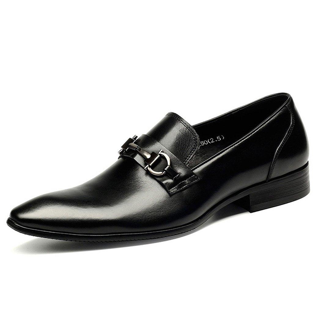 Zapatos Planos de los Holgazanes del Resbalón de los Hombres Zapatos Clásicos del Traje del Ocio del Caballero Formal del Estilo 38 EU|Negro
