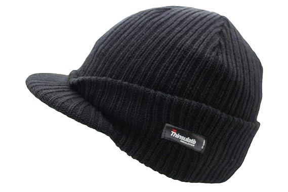Unisex Mens Ladies Peaked Beanie Thinsulate Thermal Winter Ski Hat with Peak  (Black)  Amazon.co.uk  Clothing 21d4f80ef18
