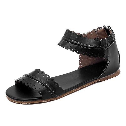 Mujer Punta Abierta Sandalias Plano Zapatos, Zip Back ...