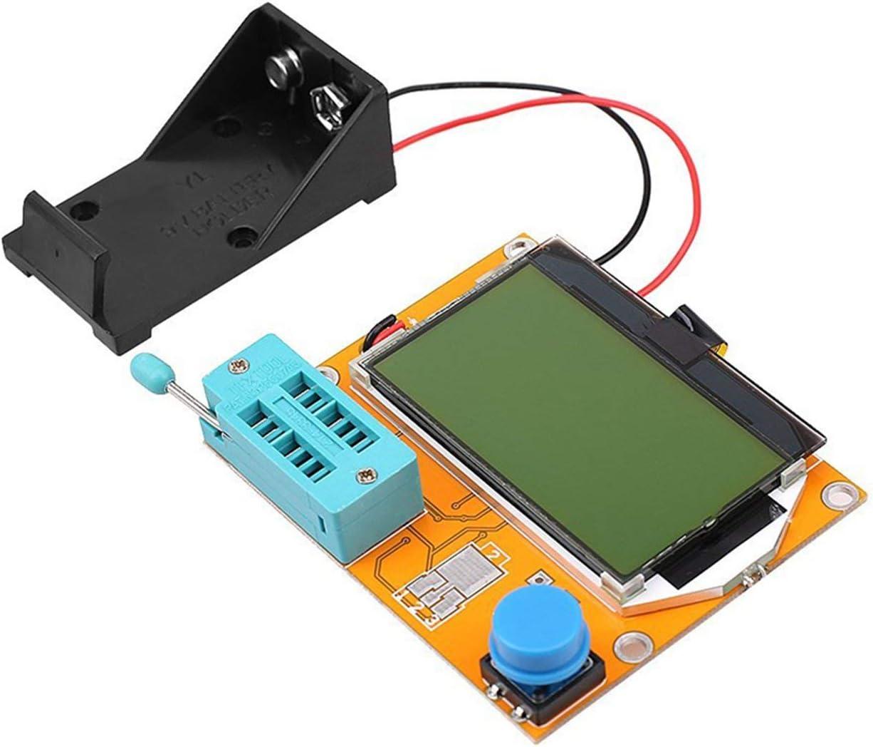 gelb JIUY Lcr-T3 Graphical Transistor Tester Widerstand Induktivit/ät Kondensator Esr Batterie-Kasten