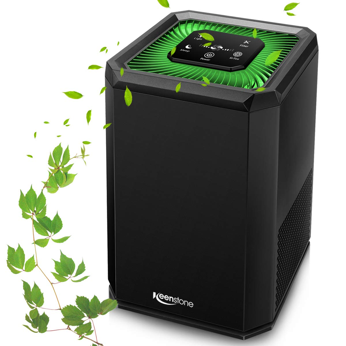 Air Purifier for Home with True HEPA Filter, 5 Speed Settings, 3 Stage Filtration, DC Motor for Smokers, Dust, Pets, Pollen, Air Cleaner with High CADR 130m³/H, Night Light for Bedroom Office - Black