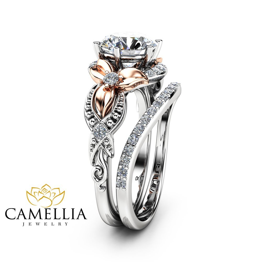 pin jewel ring engagement gold camellia catbird and rings