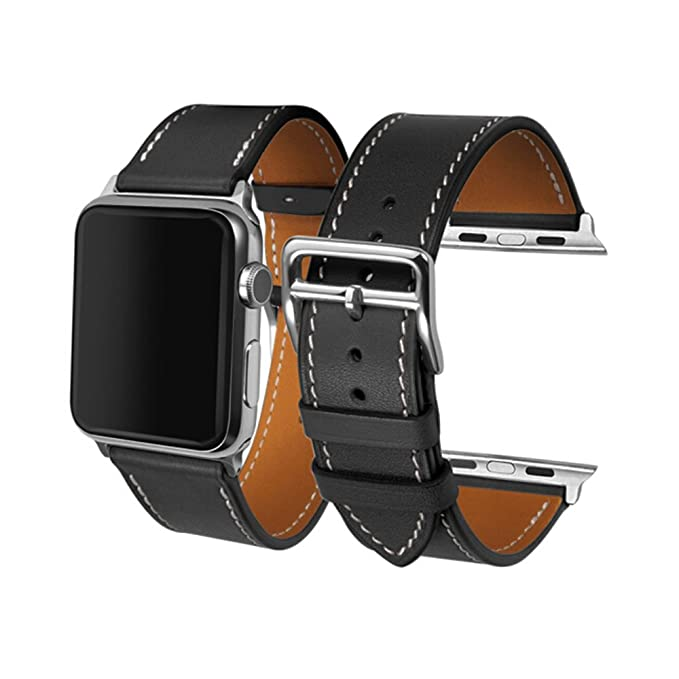 CAILIN Compatible Bands Replacement for Apple Watch 42mm Series 1 Series 2 Series 3,Luxury Genuine Leather Smart Watch Band Strap Single Tour ...
