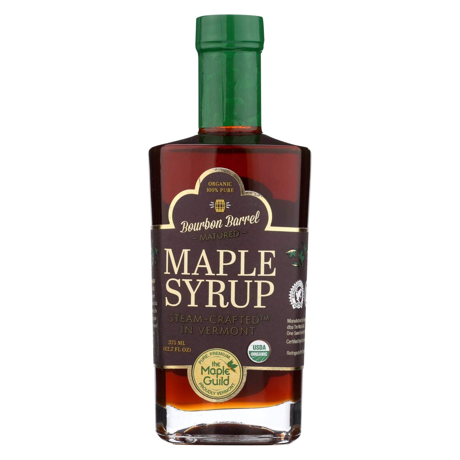THE MAPLE GUILD, Organic Syrup, Bourbon Barrel Aged, Pack of 6, Size 375 ML, (Gluten Free Kosher 95%+ Organic)
