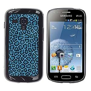 Qstar Arte & diseño plástico duro Fundas Cover Cubre Hard Case Cover para Samsung Galaxy S Duos / S7562 ( Blue Leopard Pattern Fabric Textile Wallpaper)