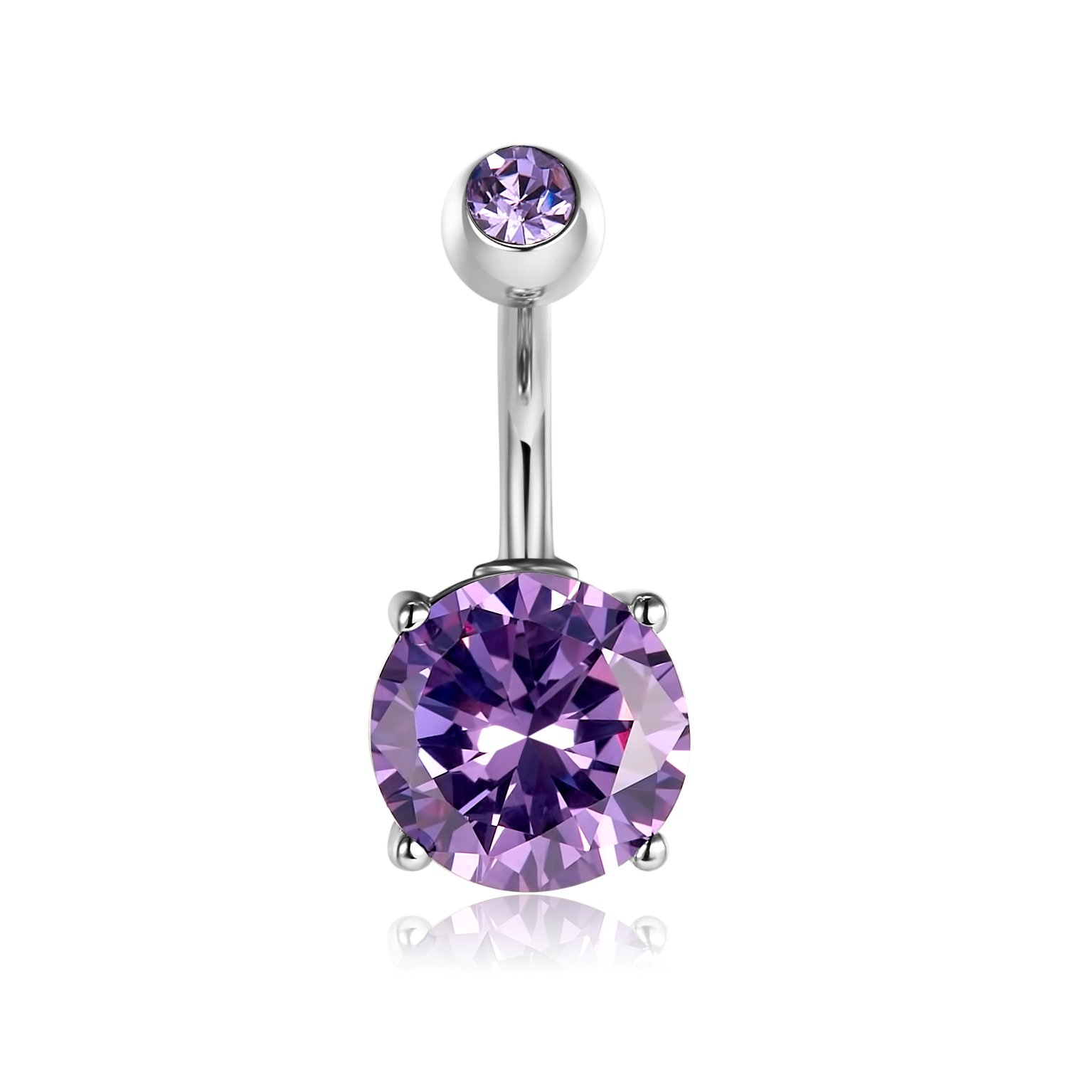 Vcmart Belly Button Rings Silver Bar Purple Crystal For Women Navel Rings Curved Barbell Body Piercing