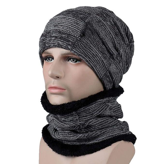 71992d472580d 2Pcs Männer Frauen Winter Warm Strickmütze Hut + Schal Warm halten Set  Gestrickte Verdicken Loop Schal