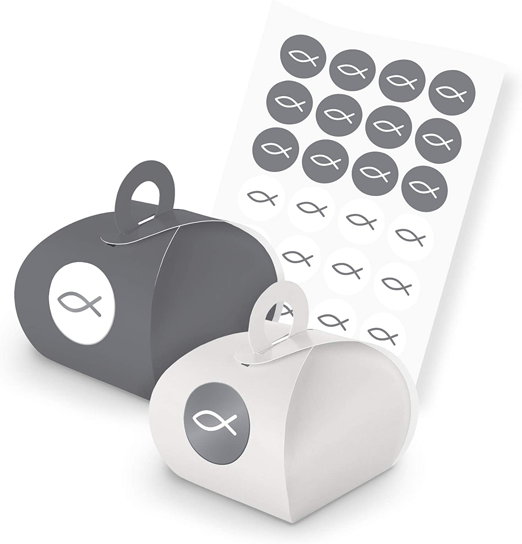 itenga Set 24 x Caja de regalo con mango + Pegatinas regalo para invitados gris blanco Set pescado gris (Diseño 93)