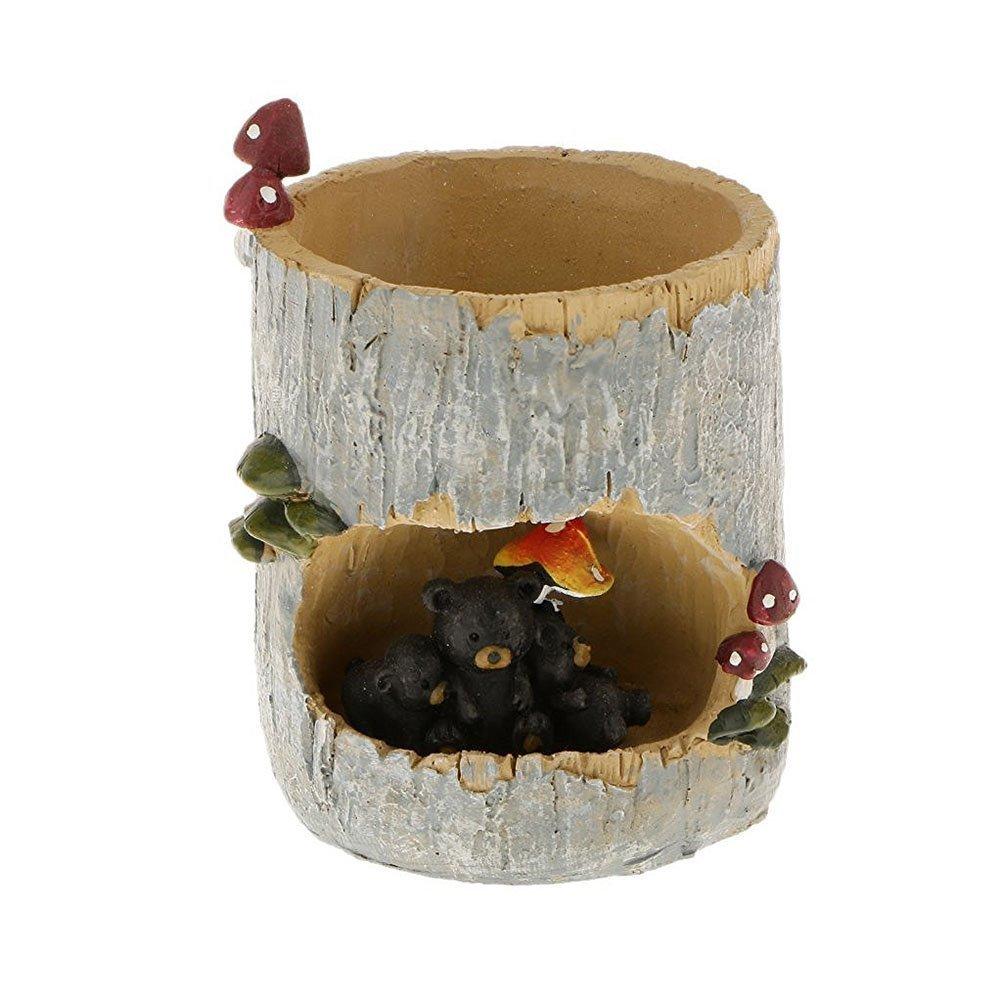 BESTOMZ Cactus Succulent Plant Pot Planter Container Flower Pot Pen Pencil Holder Cup (Black Bear)