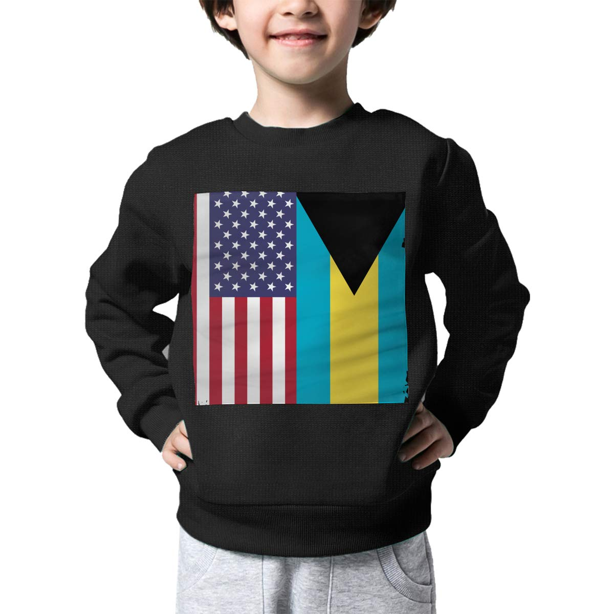 NJKM5MJ Boys Girls American Bahamas Flag Lovely Sweaters Soft Warm Kids Sweater