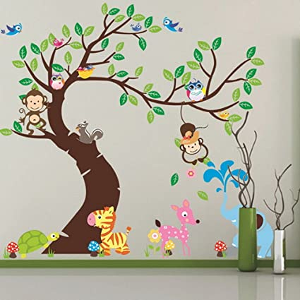 yosoo jungle animals tree monkey owl removable wall decal stickers