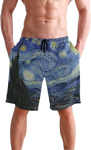 Full Moon Mens Summer Beachwear Sports Running Swim Board Shorts Mesh Lining