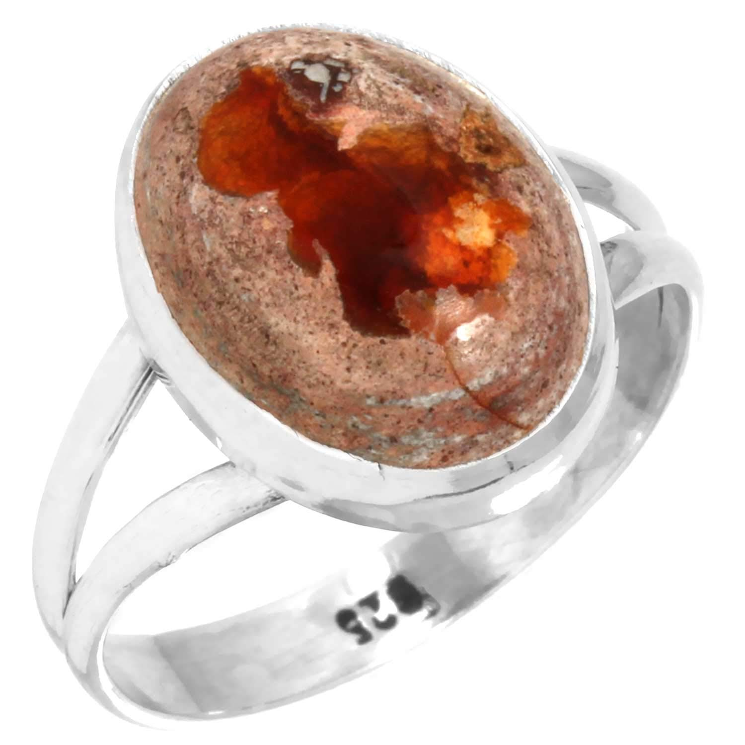 Natural Mexican Fire Opal Ring Solid 925 Sterling Silver Fashion Jewelry Size 9.5