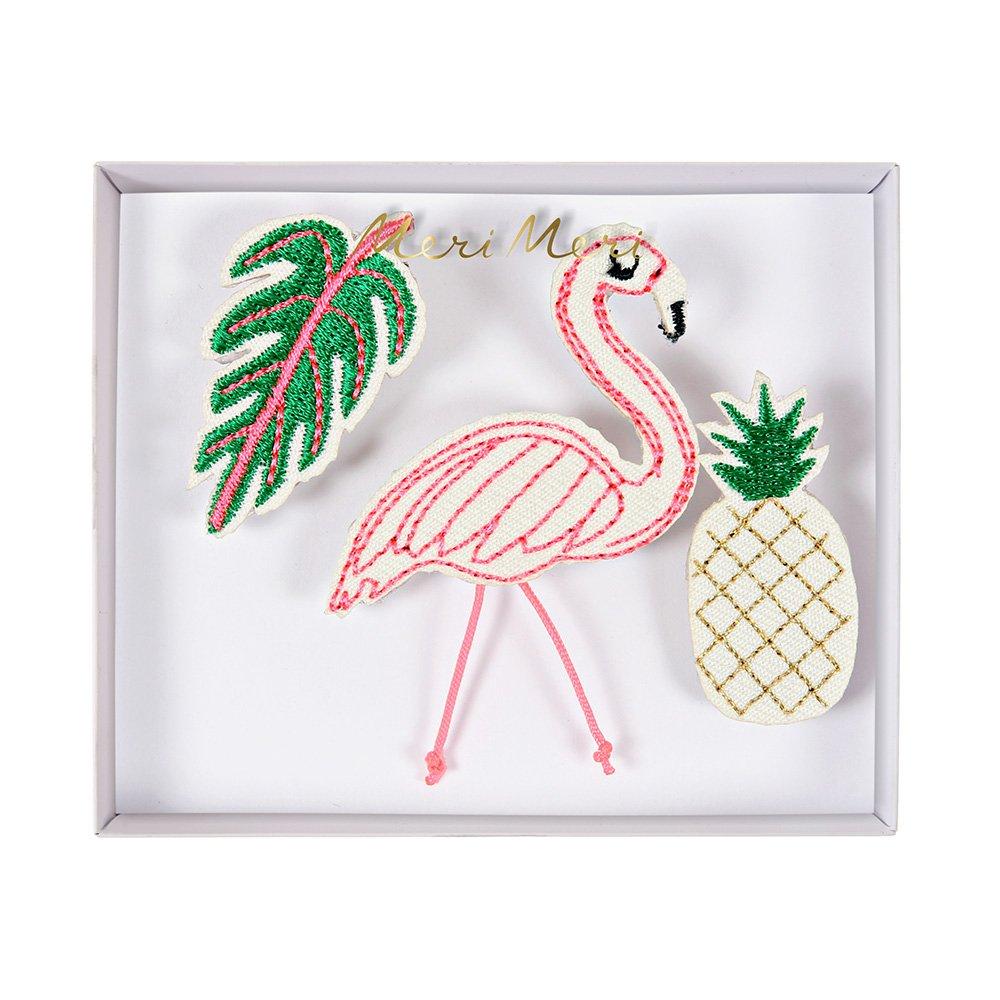 Flamingo Broche–Lot de 3broches de tissu Flamingo, Tropical Leaf, Ananas. Meri Meri
