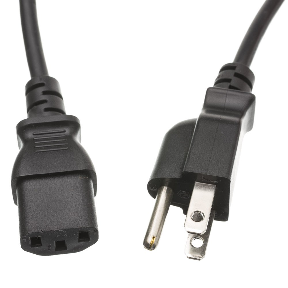 Cable Wholesale 10W1-01250 Computer/Monitor Power Cord, Black, NEMA 5-15P to C13, 10A, 50'