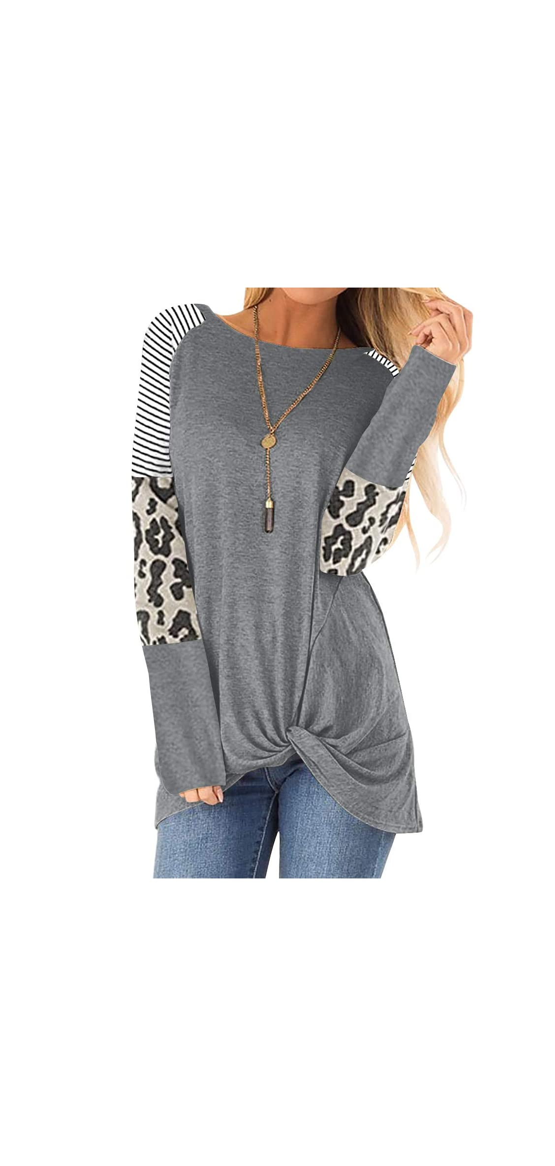 Women Long Sleeve Leopard Color Block Tunic Tops For