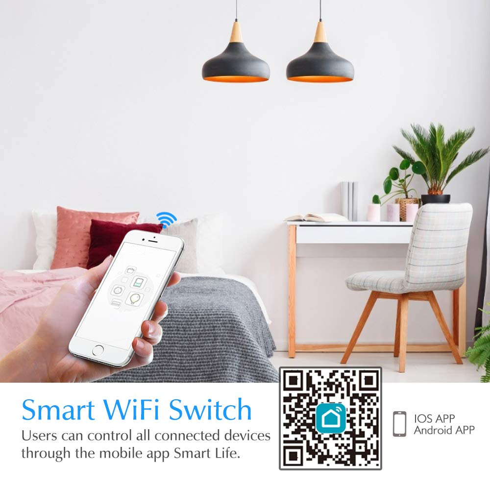 Smart WiFi Light Switch eMylo Wireless Relay Switch 220V 2 Channel 90-250V Module Remote Control Home Automation Timers Compatible with IFTTT//Alexa Echo//Google Home for iPhone Android App